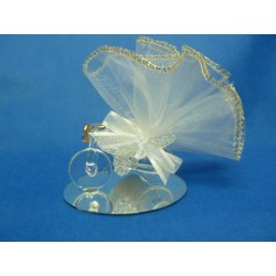 Tulle blanc bord or 24 cm