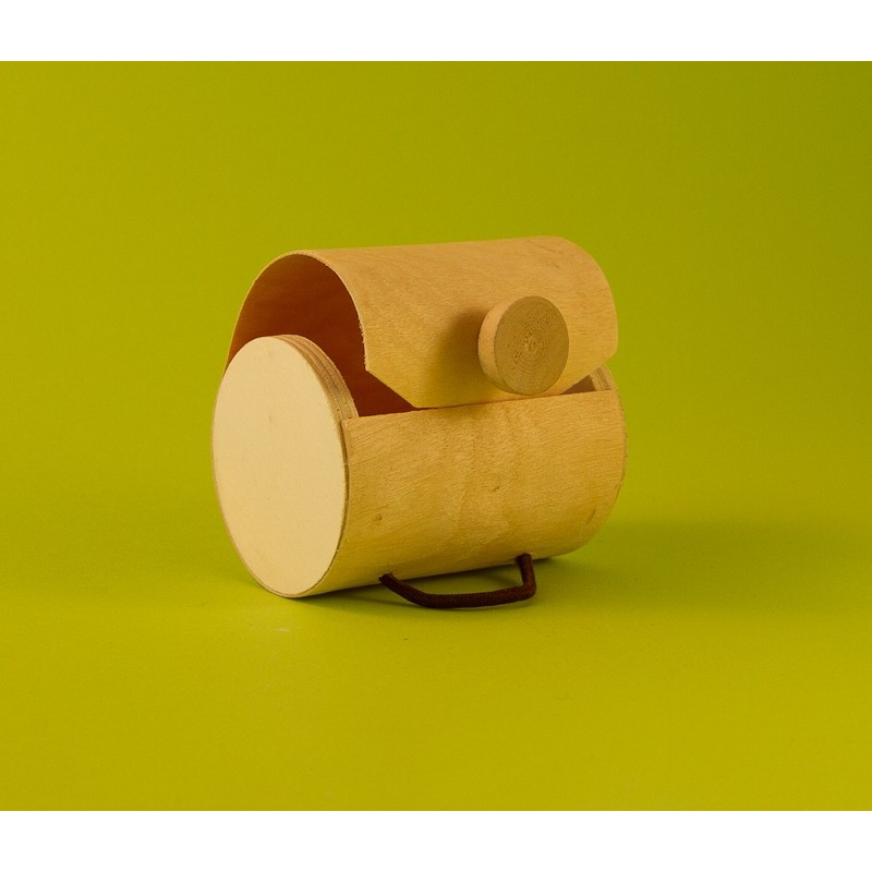 Boite ronde en bois naturel