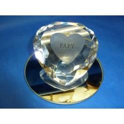 Coeur diamant sur miroir PAPY