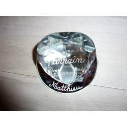 Coeur diamant sur miroir gravé MATTHIEU