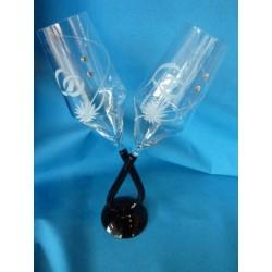 Flûtes à champagne taillées main gravées