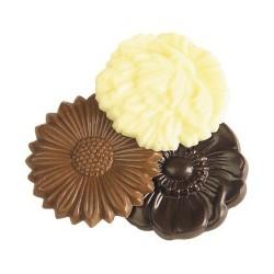 fleurs en chocolat lait et fondant