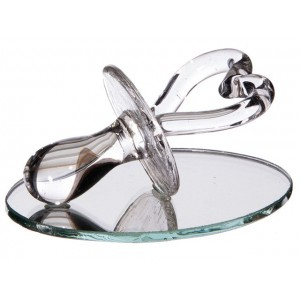 Tétine en verre sur base miroir gravée