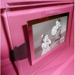 Cadre-photo en verre neutre gravé