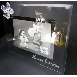 Cadre-photo en verre gravé avec fleur diamant