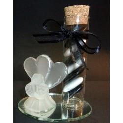 Coeur et tube sur miroir gravé garni