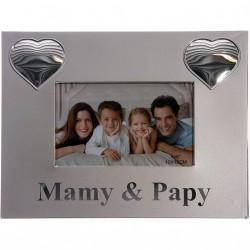 Cadre métal  argenté coeurs mamy et papy