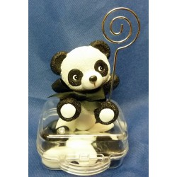 Panda porte-photo sur valisette transparente