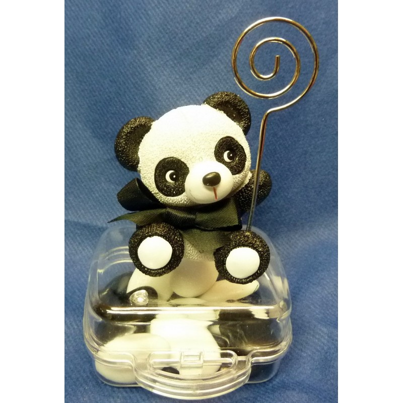 Panda porte-photo sur valisette transparente