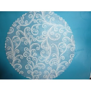 Tulle blanc motifs argentés